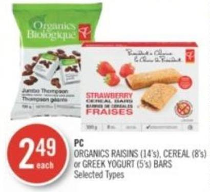 PC Organics Raisins (14's) - Cereal (8's) or Greek Yogurt (5's) Bars