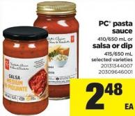 PC Pasta Sauce 410/650 mL or Salsa Or Dip 415/650 mL