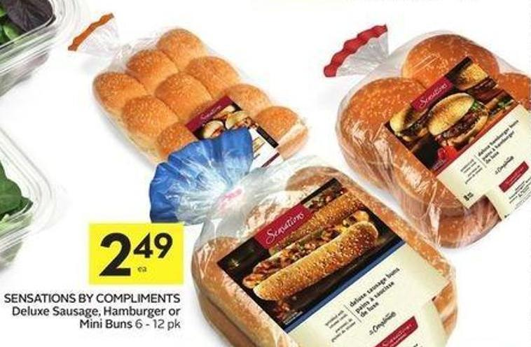 Sensations By Compliments Deluxe Sausage - Hamburger or Mini Buns 6 - 12 Pk