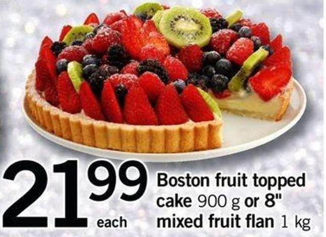 Boston Fruit Topped Cake - 900 G Or 8in Mixed Fruit Flan - 1 Kg