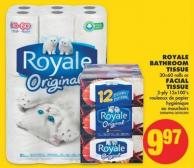 Royale Bathroom Tissue - 30=60 Rolls Or Facial Tissue - 2-ply 12x100's