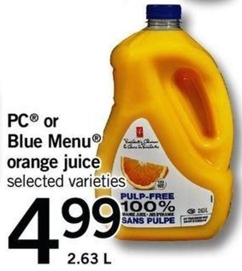 PC Or Blue Menu Orange Juice - 2.63 L