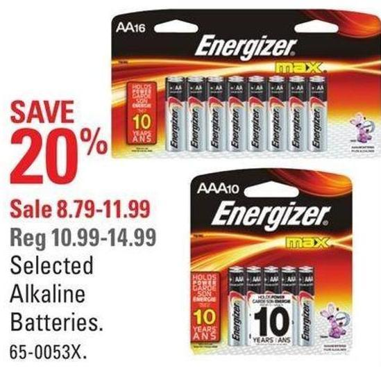 Selected Alkaline Batteries