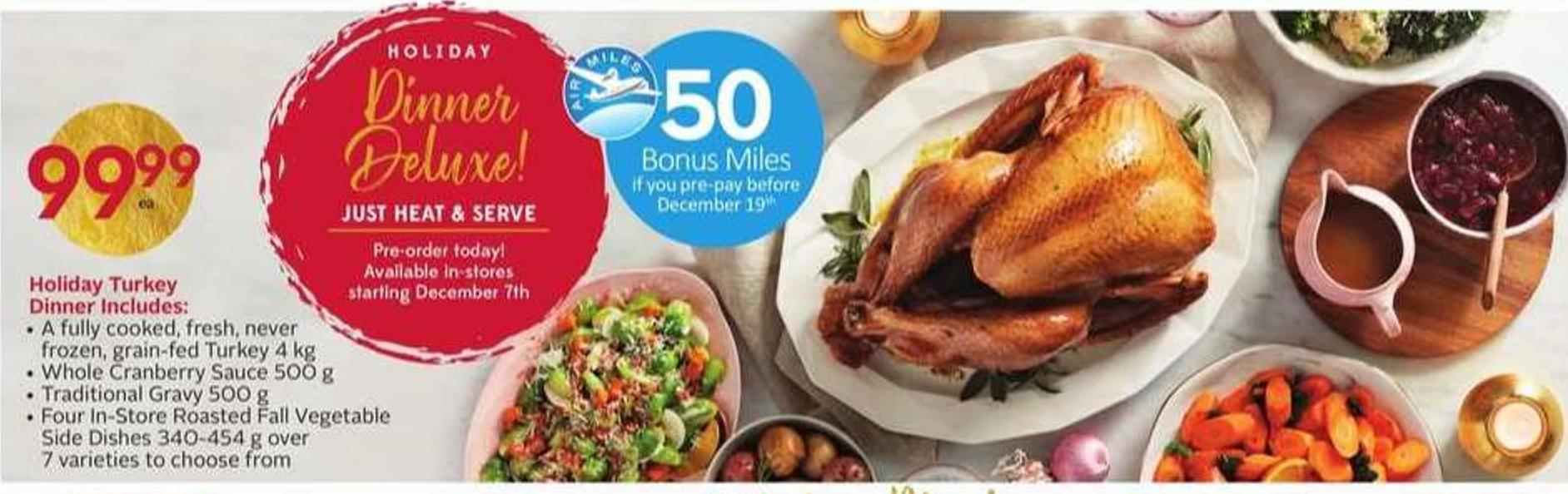 Holiday Dinner - 50 Bonus Air Miles