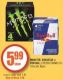 Monster - Rockstar or Red Bull Energy Drinks 4's