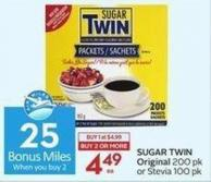 Sugar Twin Original 200 Pk or Stevia 100 Pk - 25 Air Miles