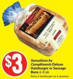 Sensations By Compliments Deluxe Hamburger or Sausage Buns 6-8 Pk