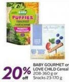 Baby Gourmet or Love Child Cereal