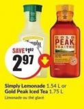 Simply Lemonade 1.54 L or Gold Peak Iced Tea 1.75 L