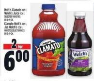 Mott's Clamato 1.89 L Welch's Juice 1.36 L