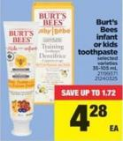 Burt's Bees Infant Or Kids Toothpaste - 35-105 mL