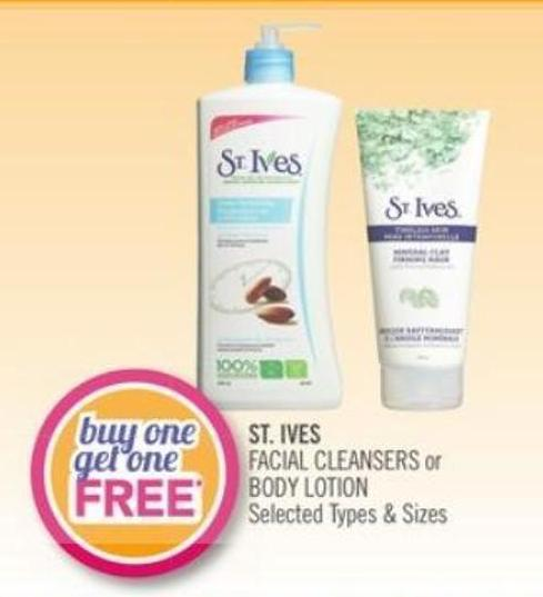 St. Ives Facial Cleansers or Body Lotion