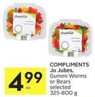 Compliments Ju Jubes - Gummi Worms or Bears Selected 325-800 g