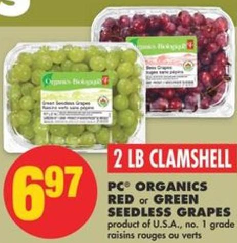 PC Organics Red Or Green Seedless Grapes - 2 Lb Clamshell