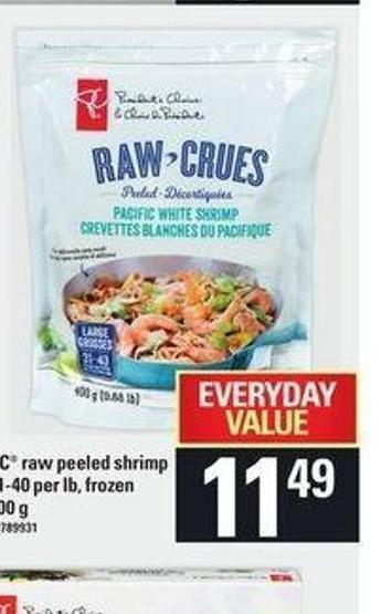 PC Raw Peeled Shrimp 31-40 Per Lb - Frozen 400 G