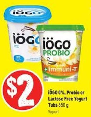 Iögo 0% - Probio or Lactose Free Yogurt Tubs 650 g