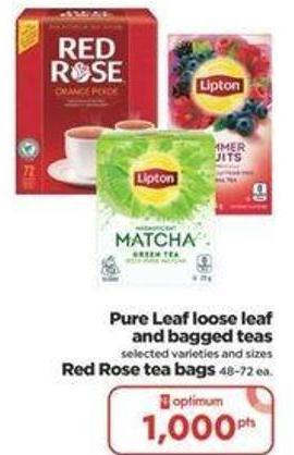 Pure Leaf Loose Leaf And Bagged Teas Or Red Rose Tea Bags 48–72 Ea.