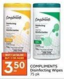 Compliments Disinfecting Wipes 75 Pk