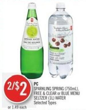 PC Sparkling Spring (750ml) - Free & Clear or Blue Menu Seltzer (1l) Water