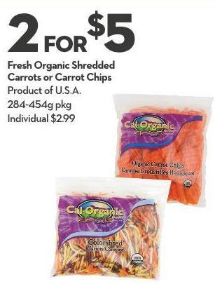 Fresh Organic Shredded  Carrots or Carrot Chips