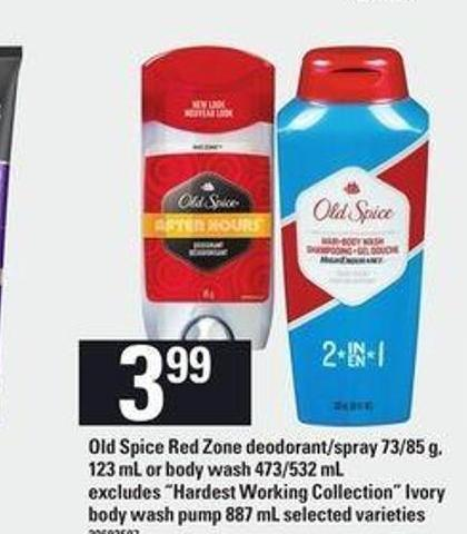 "Old Spice Red Zone Deodorant/spray - 73/85 G - 123 Ml Or Body Wash - 473/532 Ml Excludes ""Hardest Working Collection"" Ivory Body Wash Pump - 887 Ml"