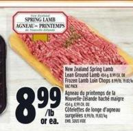 New Zealand Spring Lamb Lean Ground Lamb 454 g - 8.99 Ea. Or Frozen Lamb Loin Chops 8.99/lb - 19.82/kg