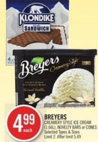 Breyers Creamery Style Ice Cream (1.66l) - Novelty Bars or Cones