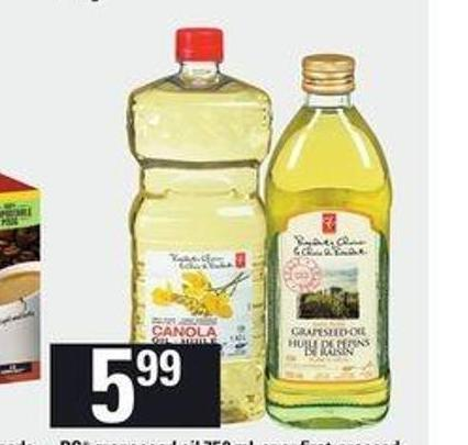 PC Grapeseed Oil - 750 mL Or Or First-pressed Canola Oil - 1.42 L