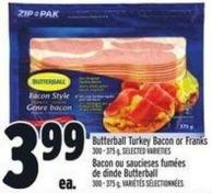 Butterball Turkey Bacon Or Franks 300 - 375 g