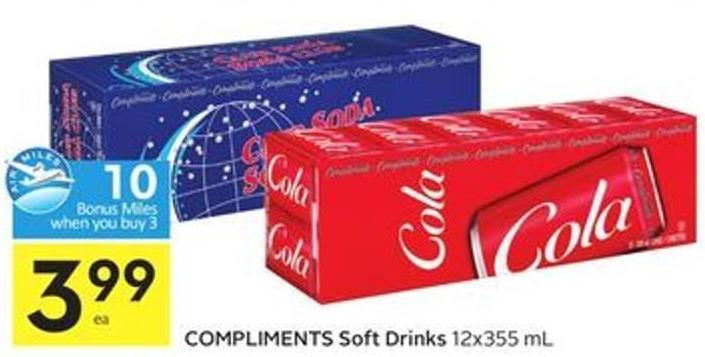 Compliments Soft Drinks 12x355 mL - 10 Air Miles Bonus Miles