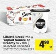 Liberté Greek - 750 G Yoplait Source Or Creamy - 16 X 100 G
