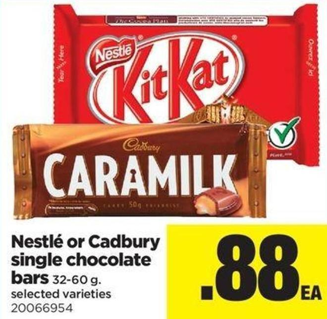 Nestlé Or Cadbury Single Chocolate Bars - 32-60 G