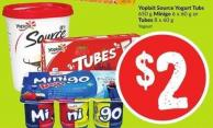 Yoplait Source Yogurt Tubs 650 g Minigo 6 X 60 g or Tubes 8 X 60 g