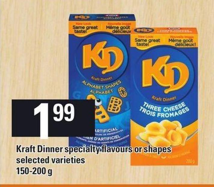 Kd Kraft Dinner Specialty Flavours Or Shapes 150-200 G