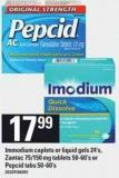 Immodium Caplets Or Liquid Gels 24's - Zantac 75/150 Mg Tablets 50-60's Or Pepcid Tabs 50-60's
