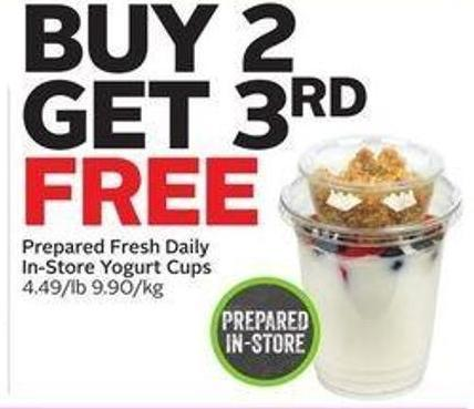 Prepared Fresh Daily In-store Yogurt Cups
