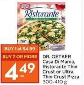 Dr. Oetker Casa Di Mama - Ristorante Thin Crust or Ultra Thin Crust Pizza 300 - 410 g