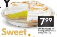 Compliments 10in Meringue Pies Lemonor Key Lime 1 Kg