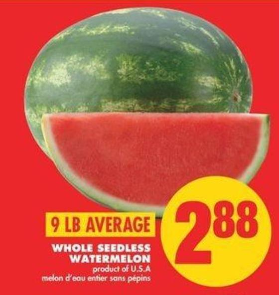 Whole Seedless Watermelon - 9 Lb Averages