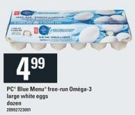 PC Blue Menu Free-run Oméga-3 Large White Eggs Dozen