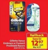 Gillete Venus Embrace or Fusion5 Proshield Razors