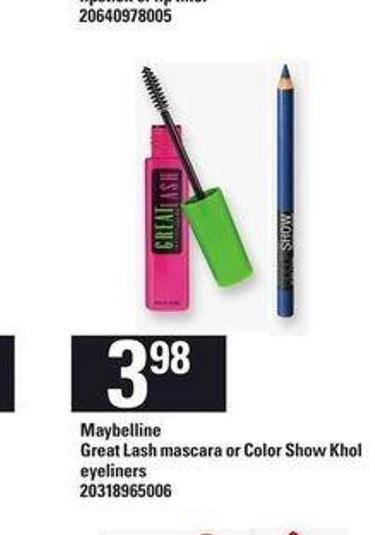 Maybelline Great Lash Mascara Or Color Show Khol Eyeliners