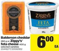 Balderson Cheddar - 280 G Or Ziggy's Feta Cheese - 400 G