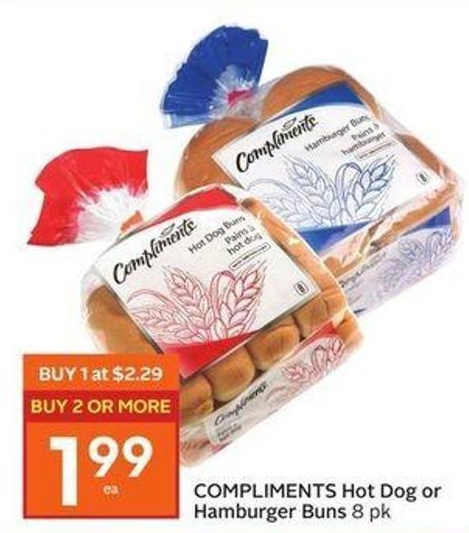 Compliments Hot Dog or Hamburger Buns