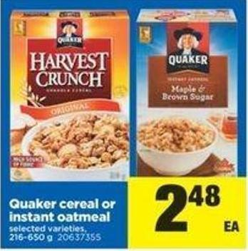 Quaker Cereal Or Instant Oatmeal - 216-650 G
