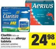 Claritin - 50's Or Aerius - 30's Allergy Tablets