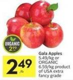Gala Apples 5.49/kg or Organic 6.59/kg Product of USA Extra Fancy Grade
