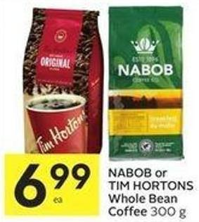 Nabob or Tim Hortons Whole Bean Coffee 300 g