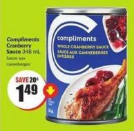 Compliments Cranberry Sauce 348 mL