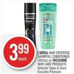 L'oréal Hair Expertise Shampoo - Conditioner (385ml) or Tresemmé Hair Care Products